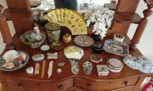 Oriental Style Trinket Dish, Bowls & Hand Fan, Bowl Of Seashells, Bookmarks, Etched Hand Vanity Mirror, Trinket Boxes