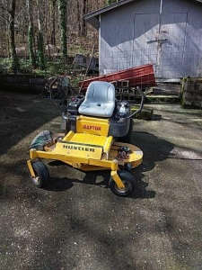 "Hustler Raptor Zero Turn Mower, 52"" deck, Kawasaki engine.  Starts, runs & cuts."