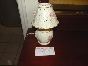 Small Bedside Lamp, ivory cream with pink roses