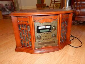 Wood Music Center -AM/FM, Recordable CD Player & Record Player