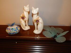 (2) Ceramic Cats, (2) Butterflies & Butterfly Music Box