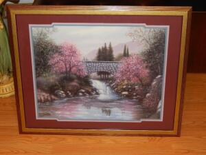 Sambataro View Of Cobblestone Bridge Over Water Framed Print