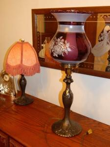 Tall Lamp (purple globe with roses)