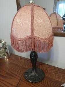 Vintage Lamp with Peach Colored Shade