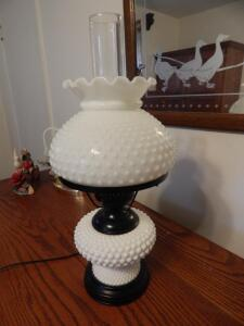 Milk Glass Double Globe Table Lamp