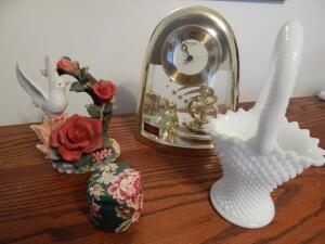 Quartz Clock, Milk Glass Basket, Bird & Roses