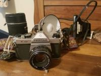 Vintage Pentax Camera With Case, Bookends & Miscellaneous