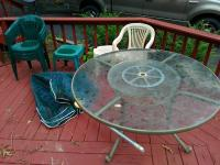 Glass Top Patio Table With Lazy Susan & Umbrella & Plastic Patio Table With Various Chairs