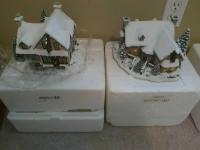 (2) Thomas Kinkade's Hawthorne Village Christmas Figurines