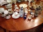 Large Lot Includes Royal Porzellan & Winterling Bavaria China Pieces:  tea cups, saucers, candy dishes, hurricane globes, figurines & more