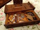 Man's Vintage Jewelry Box, Plastic Tote With Contents, Piggy Bank & More